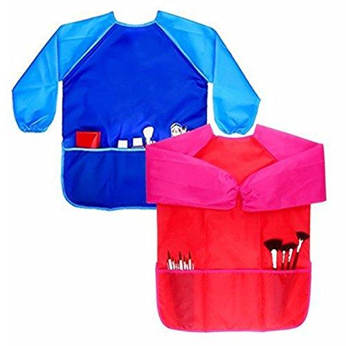 Kostüm Kleinkind Künstler - ACAMPTAR Kinder Kunst Kittel, 2 Paket langaermelige Kinder Malerei Schuerze mit Fronttaschen 3-8 Jahre Alt Unisex Kleinkind