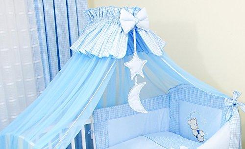 4tlg. Moskitonetz Betthimmel mit Himmelstange Babybett 480cm (Blau)