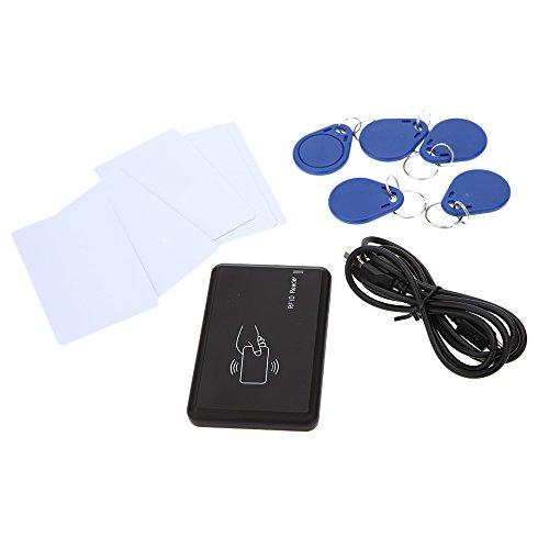 KKmoon IC Kartenlesegerät Berührungslose 14443A Kartenleser Card Reader mit USB Schnittstelle 5pcs Karten + 5pcs Schlüsselanhänger 13.56MHZ RFID