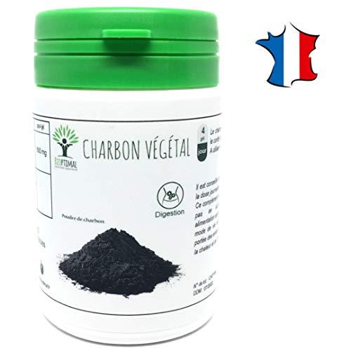 Charbon Végétal Actif | 60 gélules | Complément alimentaire | Transit Digestion | Bioptimal nutrition naturelle | Fabriqué en France | Satisfait ou Remboursé 30jrs