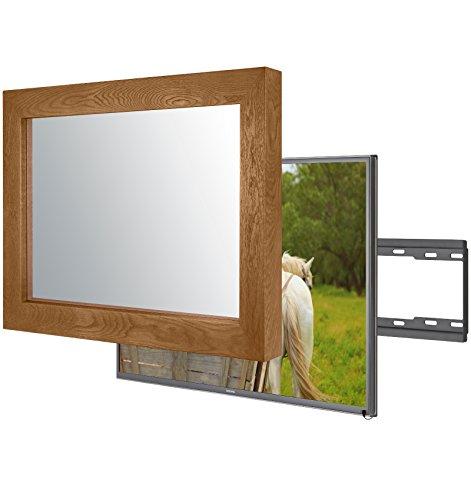 Handgemacht Eingerahmter Spiegel TV mit LG 32LH604V um diesen versteckt Verspiegelten Fernseher in Ihrem Zuhause oder Ihrer Business Ausstattung zu integrieren (32 Zoll, Flatenium Braun)
