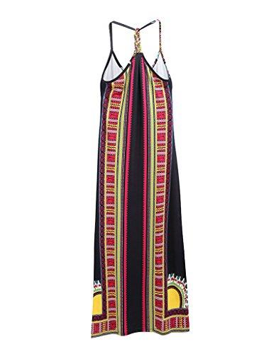 OOfit Damen hippie Kleid Ärmelloses Maxikleid boho Strandkleid Sommerkleid lange, Gr.M-XXLEU.34-42 1