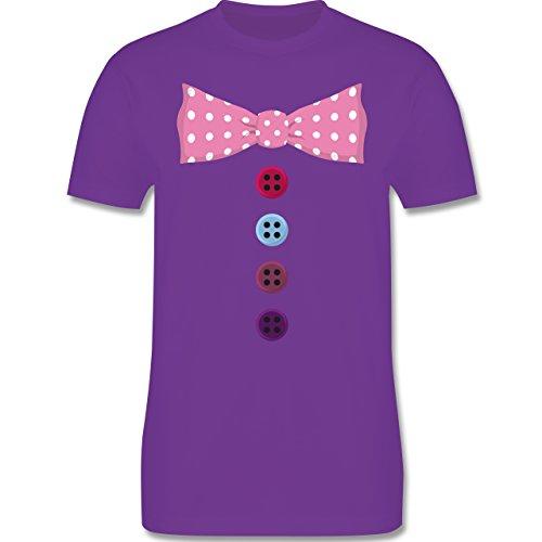 Karneval & Fasching - Clown Kostüm rosa Fliege - Herren Premium T-Shirt Lila