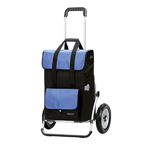 Andersen Einkaufstrolley Royal XXL Aluminium-Gestell klappbar mit luftbereiftem Kugellagerrad 25 cm und 43 Liter Einkaufstasche Vektor schwarz/blau mit Kühlfach