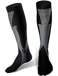 Chaussettes de compression pour hommes et femmes, MEILLEURE forme sportive pour courir, infirmières, ashtoises au tibia, voyage en avion et grossesse de maternité. Endurance Boost, Circulation &Retablissement (1 Paire)