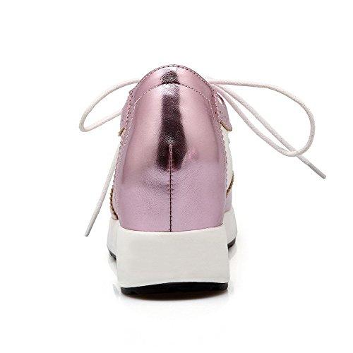 AllhqFashion Femme Matière Mélangee à Talon Haut Rond Couleur Unie Lacet Chaussures Légeres Rose