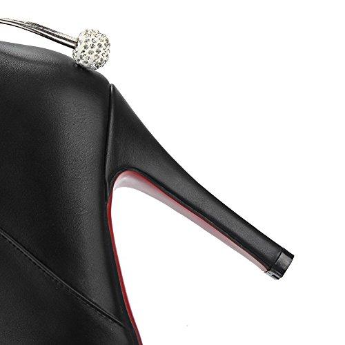 AgooLar Damen Pu Leder Niedrig-Spitze Knoten Reißverschluss Stiletto Stiefel Schwarz