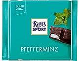 RITTER SPORT Pfefferminz (12 x 100 g), Halbbitter-Schokolade mit Pfefferminze gefüllt, besonders erfrischender Geschmack, Pfefferminzschokolade