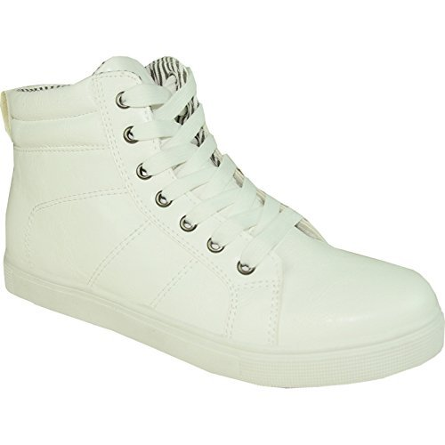 CORONADO Men Sneaker Shoe GATSBY-7 Boot Comfort Soft with a Plain Round Toe White 8.5M (Mens Plain Toe)