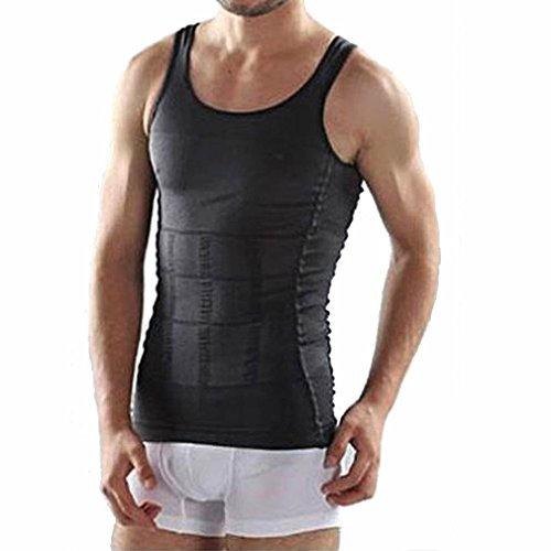 Preisvergleich Produktbild Männer Korsett Körper abnehmen Bauch Shaper Weste Bauch Taille Gürtel Shirt Shapewear Unterwäsche Taille Gürtel Shirt,  schwarz,  L