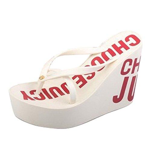 Minetom Femmes Sandales Chaussures de Plage Slim Flip Flops Talon Compensé Plateforme Tongs Bout Ouvert Sandales Chaussons EUROPE Taille Blanc 2