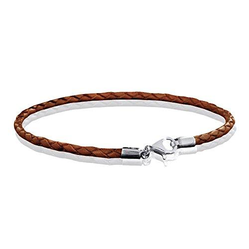 MATERIA 925 Silber Beads Armband Herren Damen - Leder Armband Karabiner braun 18-22cm #A56, Länge:22 cm - Armband Herren Bead