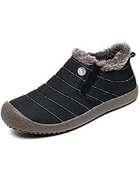 Zapatillas Casa Hombre Mujer Slippers Pantufla Invierno Caliente Casa Algodón Interior Al Aire Libre Zapatos A Prueba de Agua Negro Azul 39-48