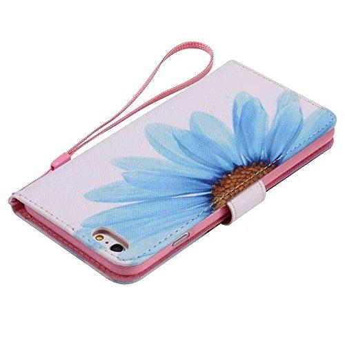 Etsue Brieftasche Hülle für iPhone SE/iPhone 5S Bär Lederhülle Ledertasche Handyhülle [Lanyard] , Prägung Flip Hülle Leder Schutzhülle Vintage Handy Tasche Case Schutz Hülle Tasche Magnetverschluss un Blau Gänseblümchen Blume