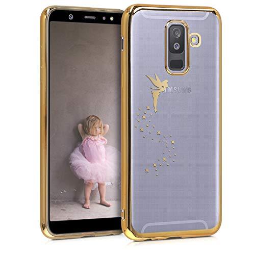 kwmobile Coque Samsung Galaxy A6+/A6 Plus (2018) - Coque pour Samsung Galaxy A6+/A6 Plus (2018) - Housse de téléphone en Silicone doré-Transparent