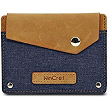 fb0374105 WinCret monederos de Hombre con Bolsillo elástico Multifuncional para Notas  y Tarjetas - Super Mini Billetera