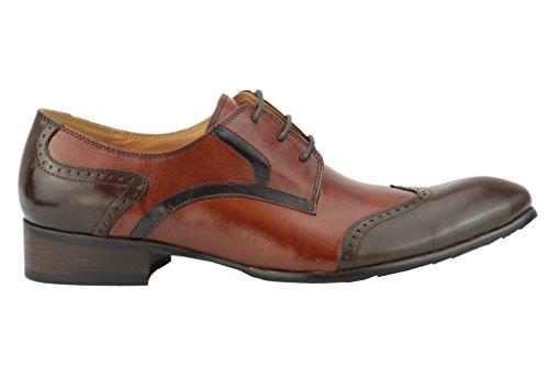 Xposed Herren Zwei Ton poliert echtes Leder Tan Braun Derby Wingtip Brogue Gatsby Schuhe, Hellbraun - Größe: 11.5 UK 46 EU