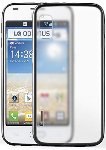 moex LG E610 Optimus L5 | Hülle Slim Transparent Schwarz Impact Back-Cover Dünn Schutzhülle Silikon Handy-Hülle für LG Optimus L5 Case TPU Tasche Matt (Handy Case Lg Optimus)