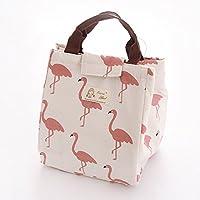 Yiding con aislamiento bolsa para el almuerzo portátil impermeable reutilizable para el almuerzo Picnic viaje bolsa bolsas de almuerzo, color White with bird