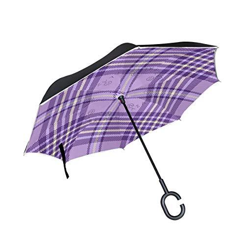 rodde Regenschirm umgekehrter umgekehrter Sonnenregen-Weinlese-Plaid-Gingham-Karo Tartan Striped Purple Reversible für Auto-im Freiengebrauch mit C-förmigem Griff -