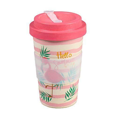 Thermo Rex Bamboo Cup Flamingo 350ml | Bambus Becher Flamingo Design | Rosa Flamingo Becher |...