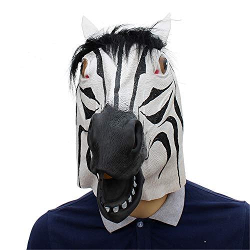 Kopf Kostüm Zebra - FXXUK Neuheit Halloween Kostüm Party Latex Zebra Kopf Maske Tier Schwarz Deluxe Kopfbedeckung Dekoration für Erwachsene Kinder Cosplay Maskerade Streich Geschenk