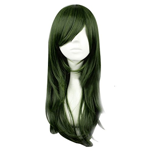 Lange Wavy Dunkelgrün Dame Girl Cosplay Haar-volle Perücke