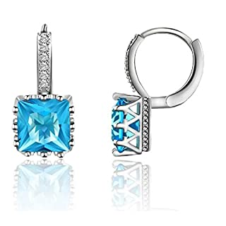 Blue Cubic-Zirconia Square Cut Earrings