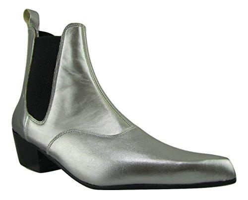 Unbekannt Retro of London Hand Made Herren Beatle Beat Stiefel Chelsea Silber Leder Spitz Zulaufender Zehenbereich Cuban Heel, Silber - Silber - Größe: 40 -