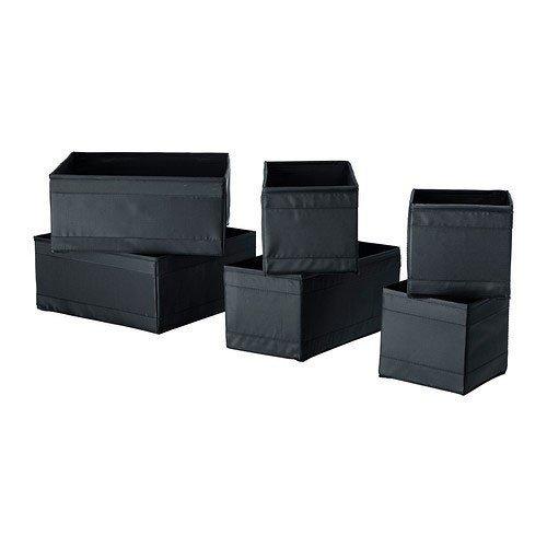 Ikea 601.926.33 Boxes Organiser, Black (Set of 6)