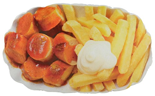 United Labels 119984 Kissen Pommes Currywurst, ca. 50 x 30 cm