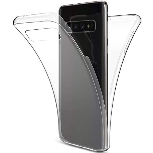 Herbests Kompatibel mit Samsung Galaxy S10 Hülle Silikon 360 Grad Full Body Cover Transparent TPU...