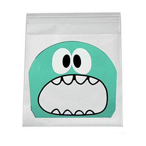 selbstklebend Candy Bag Kunststoff Cookie Geschenkpapier Dichtung, grün, 10*10+3cm (Cookie Monster Dekorationen)