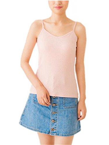 Aoliait Slim Fit Sexy Femme Bretelles Top sans Manches Débardeur Couleur Unie Couleur Unie T-Shirt Vest Hipster Blouses Gilet Décontractée pink