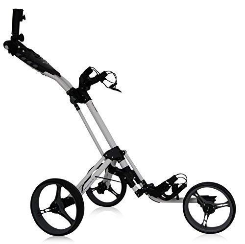 tour-made RT-140 3-Rad Golf Push Trolley Pushtrolley Golftrolley 3-Rad (Weiss-grau)