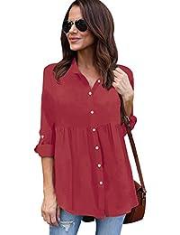 c7b639f5e5fd5 ISSHE Blusa Gasa Blusas Manga Larga Para Dama Camisas de Vestir Mujer  Blusones Camisetas Largas Juveniles Top Cuello En V…