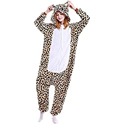 ABYED Adulte Unisexe Anime Animal Costume Cosplay Combinaison Pyjama Outfit Nuit Vetements Onesie Fleece Halloween Costume Soiree de Deguisements, Leopard Ours, L(164-174CM)
