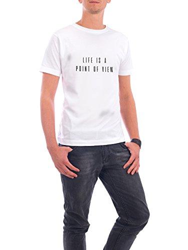 """Design T-Shirt Männer Continental Cotton """"LIFE IS A POINT OF VIEW"""" - stylisches Shirt Typografie Geometrie Natur Reise Menschen Liebe Fashion Musik von Giuseppina Mirisola Weiß"""