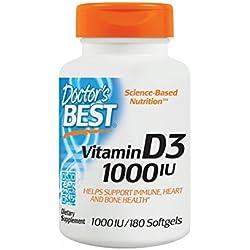 Doctor's Best Vitamin D3 1000 I.E, 180 Weichkapseln glutenfrei, sojafrei