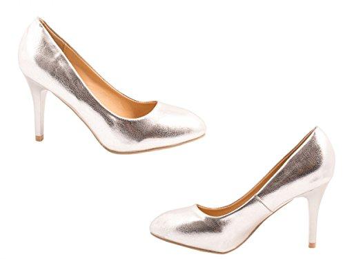 Elara Damen Pumps   Stiletto High Heels   Abendschuh Metallic Argento (argento)