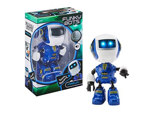 Funky, kleiney Bots Marvin, Kleiner Roboter zum Spielen und Liebhaben, mit vielen lustigen Sounds Mini Roboterfigur aus Metall, blau ()