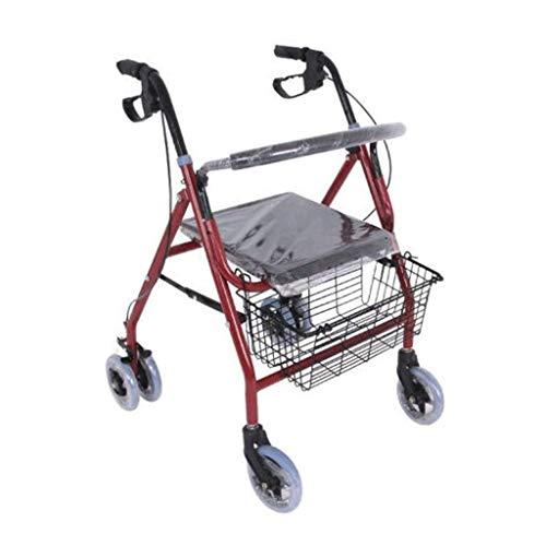GFHF Ältere Menschen Einkaufswagen, Push-Typ Walker Mit Sicherheitsriemenscheibe Klappbarer Gehrahmen Mit Einkaufskorb