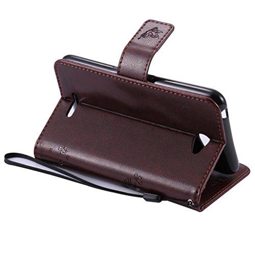 W-Pigcase Étui portefeuille en cuir PU avec fermeture magnétique/porte-cartes/fonction support pour LG K4, Cuir synthétique, gris, iPhone 4/4G/4S Café