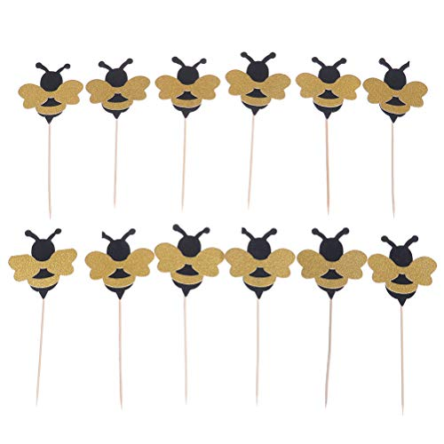 nigbiene Obst Picks Shiny Bee Papier Cupcake Toppers Party Dessert Dekor Baby Dusche Geburtstag Party Dekor ()