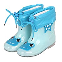 LYXFZW,Rain Boots For Kids,girls,Rubber Wellington Boots Children With Soft Plush Warm Ankle Cute Waterproof Non-Slip Boys Easy Wipe Bright Blue Frog Removable For Outdoor School Garden