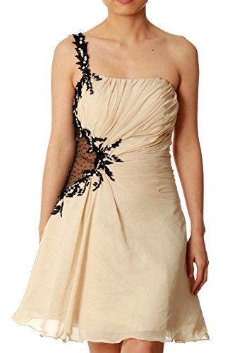 MACloth Women One Shoulder Chiffon Mini Prom Party Dress Cocktail Formal Gown Champagner