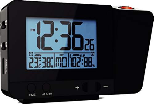 ThinkGizmos TG644 - Horloge Digitale Atomique - Réveil Lumineux - Réveil Matin à Projection Murs et Pla-fonds - 2 Alarmes - Température - Hygromètre - Port USB - Horloge Numérique Radio-pilotée (Noir)