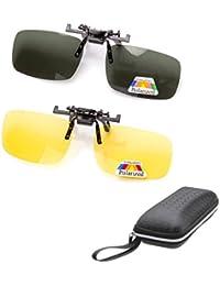2 Paar Sonnenbrille Clip auf Flip Up Night Vision Gläser Blendschutz polarisierte für Männer Frauen UV400 Beste für Driving Golf Schießen Angeln Jagd Outdoor Sports-Gleb+Grün E4qSC