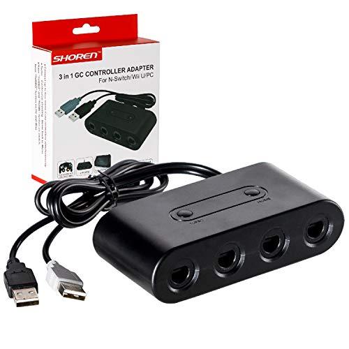 GameCube Controller Adapter Super Smash Bros Gamecube NGC Controller Adapter für Wii U Nintendo Switch und PC USB mit 4 Slots Switch mit Turbo und Home-Buttons 4 Port schwarz
