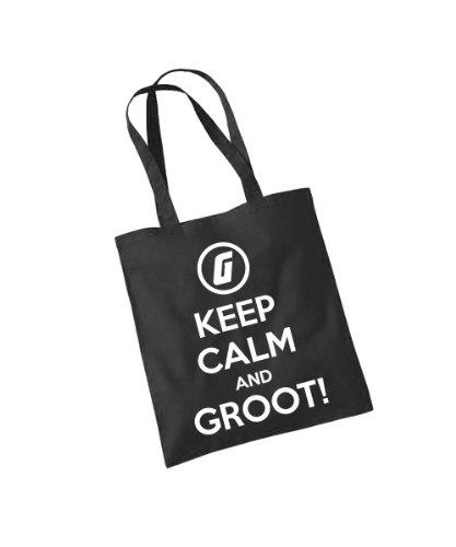 - Keep Calm and Groot! - Baumwolltasche Schwarz, langer Henkel -
